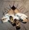 Валяный шарф-бактус с хищным принтом Леопард, хенд-мейд 0