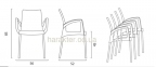 стул с подлокотниками BOULEVARD Polypropylene + Aluminium 1