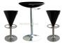 Стол барный высокий Амира диаметр 60 см, белый, черный пластик, основа хром 0