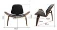 Кресло CH07 Shell Chair орех и черный, сиденье черная экокожа са 1