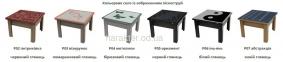 стол трансформер 2 в 1 столешница прозрачное стекло с рисунком УФ печать, корпус дсп 0