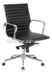 Кресло офисное Алабама M, кожзам, средняя спинка, цвет черный, белый