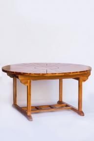 Стол тиковый обеденный 25202 раскладной диаметр 1.5м (2,1 м) эм