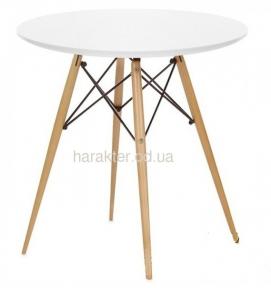Стол обеденный Тауэр Вуд 80 см, ножки бук, столешница мдф цвет белый мдс