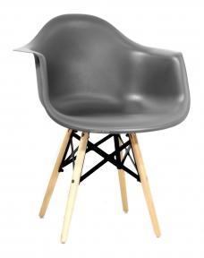 Кресло Leon (Леон) XXL пластик (антрацит, серый) ножки деревянные