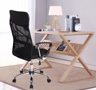 Кресло офисное Оливия Н высокая спинка, сетка, хром, цвет черный