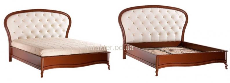 Кровать двуспальная 1,6 Афина (темный каштан) (ткань молочный жемчуг) кд