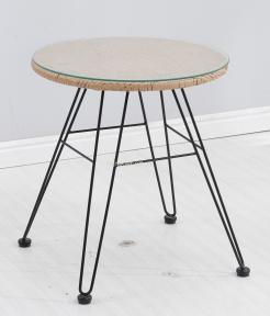Стол Tulum каркас металл черный, ротанг латте, стекло D50 см