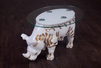 Стол журнальный в виде животного Носорог из натурального дерева крк