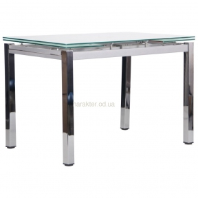 Стол обеденный раскладной Сандро основа хром, столешница стекло цвет белый, серый или черный амф