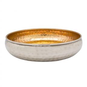 Блюдо алюминий чеканка золотое, 33см КС108244