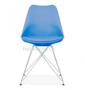 Стул Тауэр С, пластиковый с подушкой (синий, белый, черный, красный), ножки хром мдс