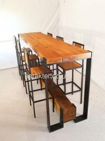 Комплект барный стол и 6 стулев Уэльс в стиле Лофт