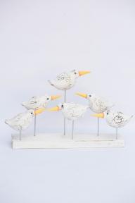 Декор Шесть белых птичек, длина 40см, высота 20см 33107 эм
