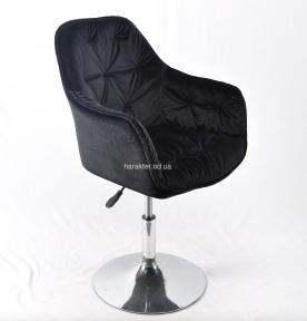 Крісло офісне Маріо, оксамит чорний, основа блін хром (ом)