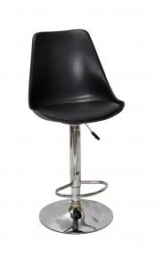 Стул барный Альберт основа металл хром или черный, сидушка мягкая, пластик белый или черный ом