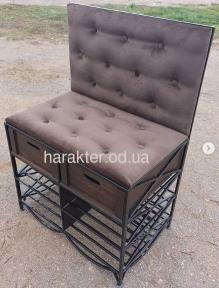 Кованое кресло с выдвижными ящиками и полками, мягкий верх, стеганный пуговицами (лп)