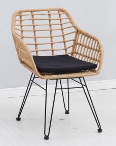 Кресло Tulum каркас металл черный, ротанг цвет латте