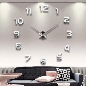 Часы настенные 3D ZH210 (черный, серебро) ат
