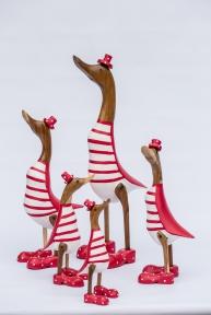 Декор Утка, Семья уток красно-белых в цилиндрах, 35, 30, 25 см 33403М эм Утки