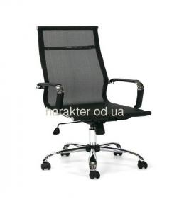 Кресло офисное Невада, сетка, хром, средняя спинка, цвет черный