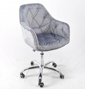Крісло офісне Маріо, оксамит сірий, стальний, основа хром, колеса