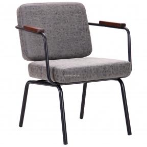 Кресло Oasis черный металл, кожзам цвет бетон
