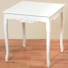Белый матовый стол из пихты, в стиле прованс, ШЛ