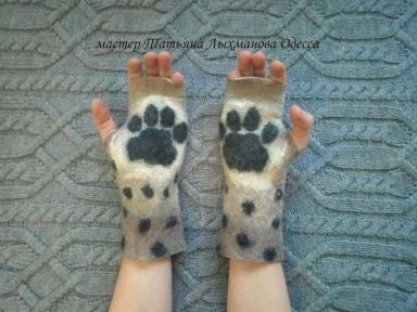 Митенки, перчатки без пальцев Лапки Рысь, хищный принт хенд-мейд