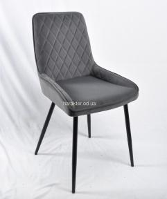 Кресло, стул Стэн, ножки металл черный, бархат серый ом