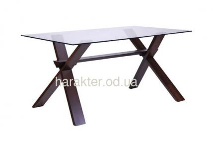 Стол обеденный Лаура 1500*900*750 орех темный /cтекло прозрачное