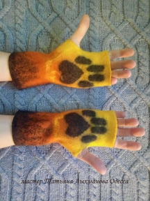 Валяные митенки, перчатки без пальцев Лапки Лисичка, хенд-мейд
