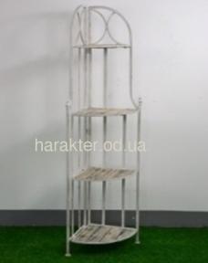 Етажертка кутова складна 4 полички метал+дерево HY313 фд