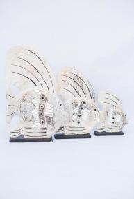 Декор морской Семья рыб белых на подставке 32120 эм
