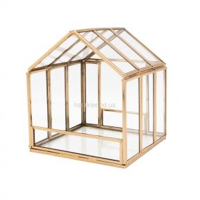 Подсвечник домик золотой 14 см (108239)