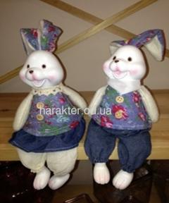 Зайці сидять синій (3080), зелений (3009) одяг h37 фд