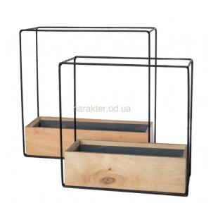 Кашпо для цветов Iron Cube металл, дерево 004320 ВВ