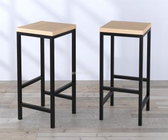 Барный стул BS-1 и BS-2 каркас металл черный матовый, сидушка ДСП