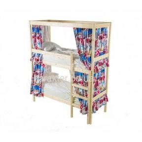 Двухъярусная кровать c деревянным каркасом для штор ШС 530101-К