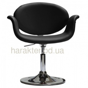 Кресло СТУДИО черный козжам на блине или колесах, основа хром