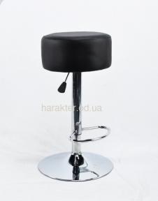 Табурет, стул барный Rene CH(BK)-Base хром или черный, на блине, экокожа белый, черный