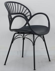 Стул дизайнерский пластиковый FLORI (Флори)  антрацит, белый, желтый, ножки металл черный ом