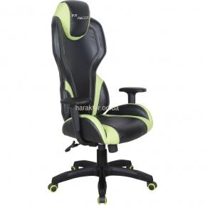 Кресло VR Racer Zeus черный, PU черный/зеленый амф