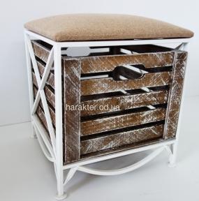 Кованый диванчик-пуфик с выдвижным ящиком ES-1
