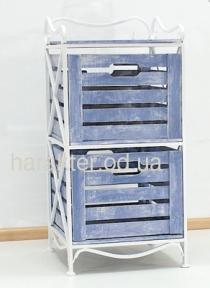Этажерка кованая на 2 ящика (полка металлическая) вертикальная ES-102