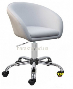 Кресло Мурат К, мягкое сиденье, на колесах, белый, черный мдс