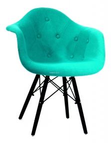 Кресло Leon (Леон) Soft ВК Шерсть (желтый, синий, зеленый, бирюза, серый) ножки деревянные цвет черный