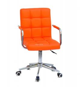 Стул офисный (компьютерный) Augusto-Arm (Modern, BK, CH) на колесах с подлокотниками, кожзам или бархат