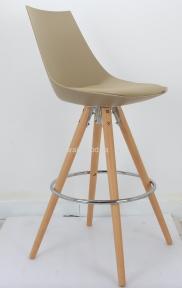 Стул барный Klim пластик с мягкой сидушкой цвет бежевый, белый, черный, серый, ножки деревянные ом