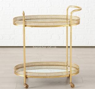 Стол сервировочный на колесиках Гастон металл золото h77см w40см ГП1015848